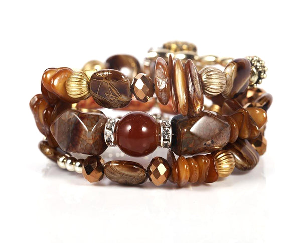 Coffee Brown Carved Barrels Beaded Layered Bracelet