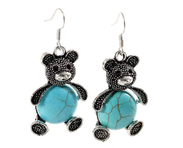 Turquoise Teddy Bear Earrings