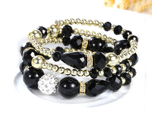 Mysterious Black Shade Multi layered Crystal Beaded Boho Bracelet
