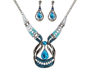 Blue Wave Droplet Necklace and Earring Set