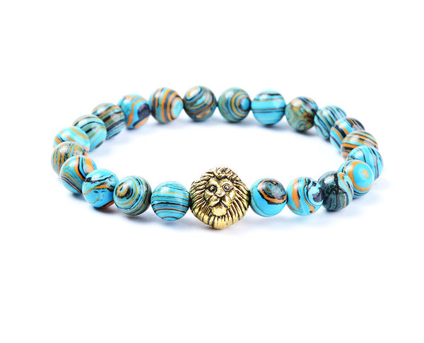 Lion Head Turquoise linear bead bracelet
