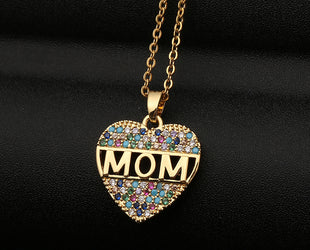 Gold Pastel Heart Mom Necklace