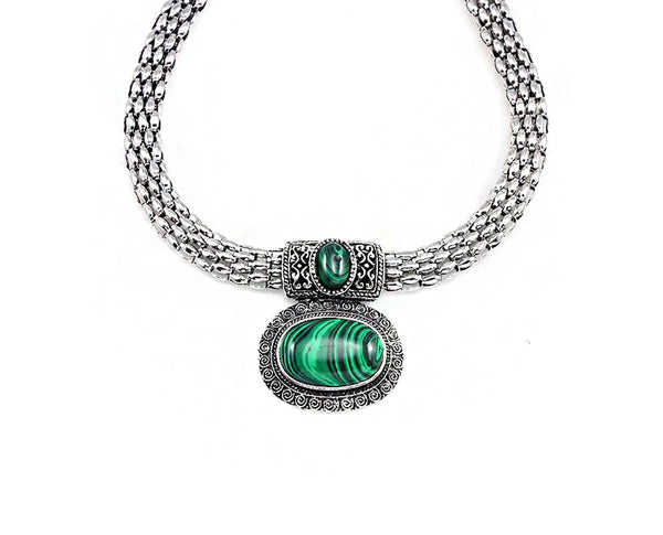 Malachite Centered Statement Necklace