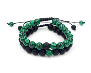 Adjustable Malachite Bracelet with Hangings