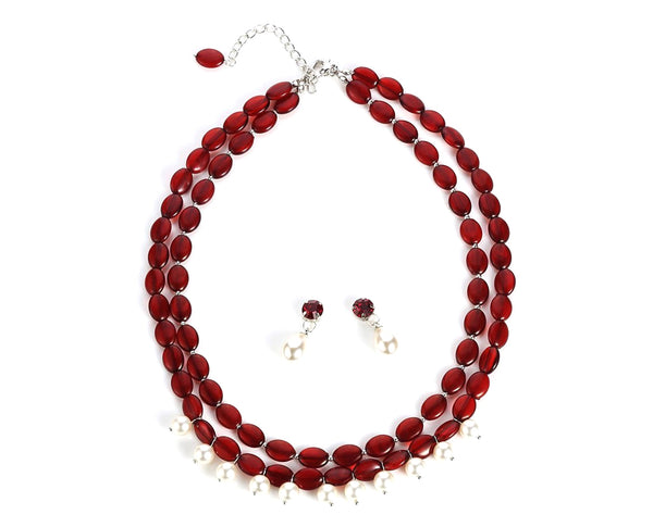 Mesmerizing Ruby Red Pearl Drop Set