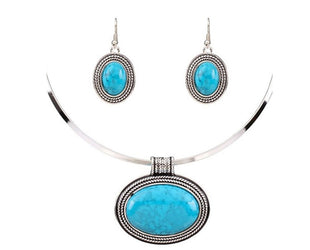 Oval Turquoise Collar Necklace Set