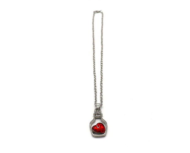 Rhinestone Heart Wineglass Necklace