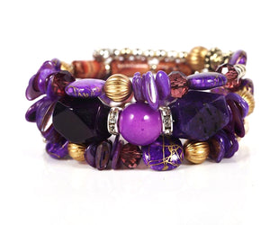Mysterious Purple Colored Carved Barrels Harmony Layer Boho Bead Bracelet