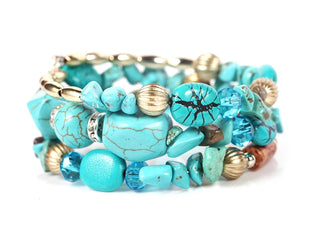 Teal Turquoise Beaded Layered Carved Barrels Bracelet