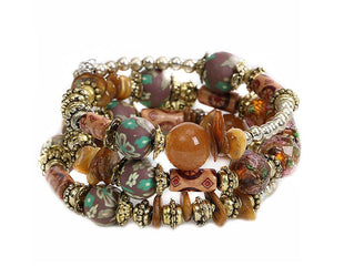 Bister Brown Hand Painted Boho Multilayered Beaded Bracelet