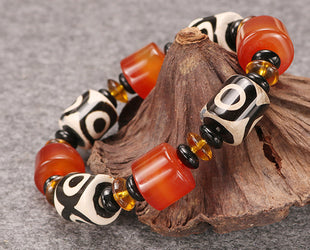 Azuring Hand Painted Satin Bead Bracelet