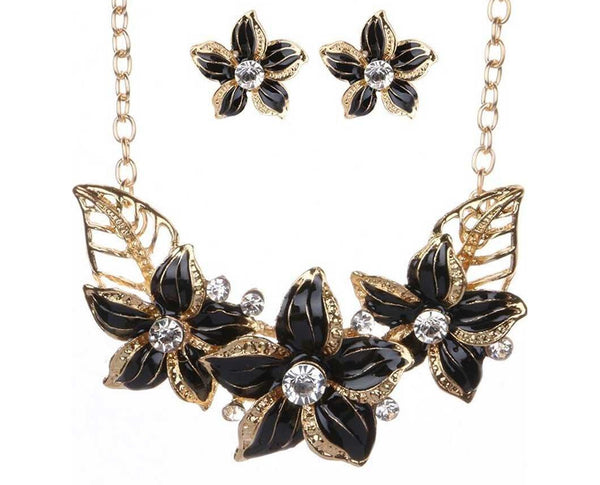 VOLCANIC DUST POINSETTIA LUXOR LEAVES NECKLACE SET