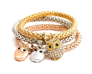 Nocturnal Wise Owl Trio Charm Set