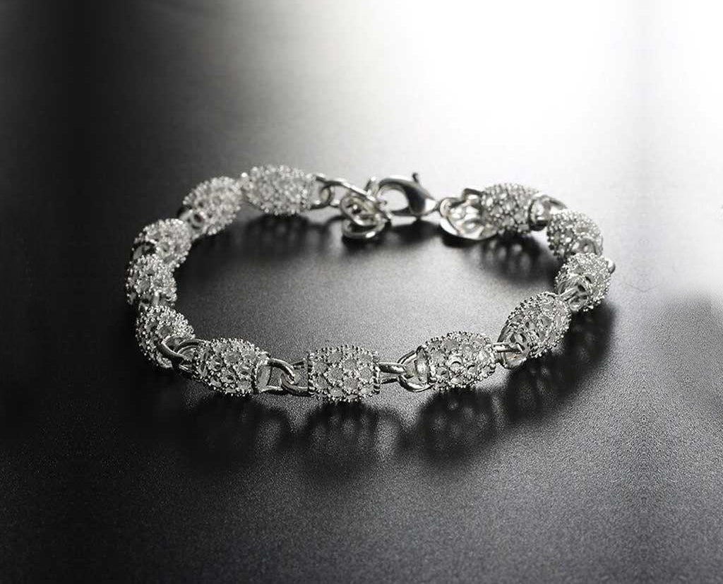 Silver Filigree Beaded Bracelet