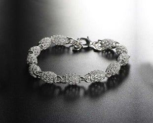 Silvertone Hollow Filigree Beaded Bracelet