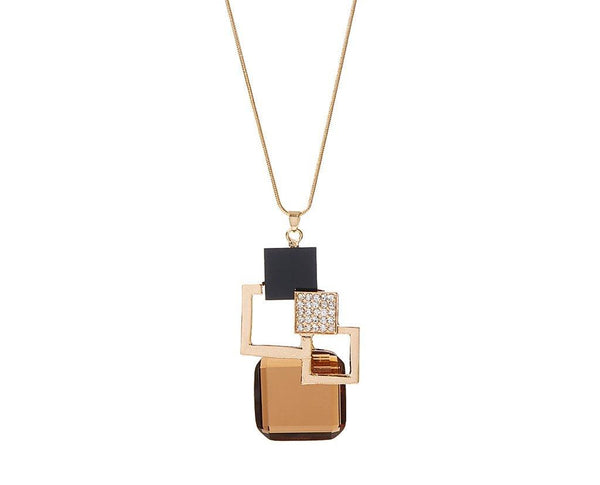 Brown Crystal & Goldtone Geometric Pendant Necklace