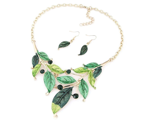 Vintage Green Fall Leaves Necklace Set