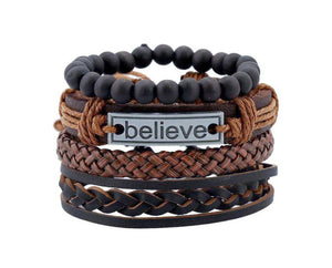 Wood and Leather Inspirational Bracelet