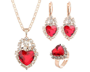 Ruby Red Heart Three Piece Set Sales