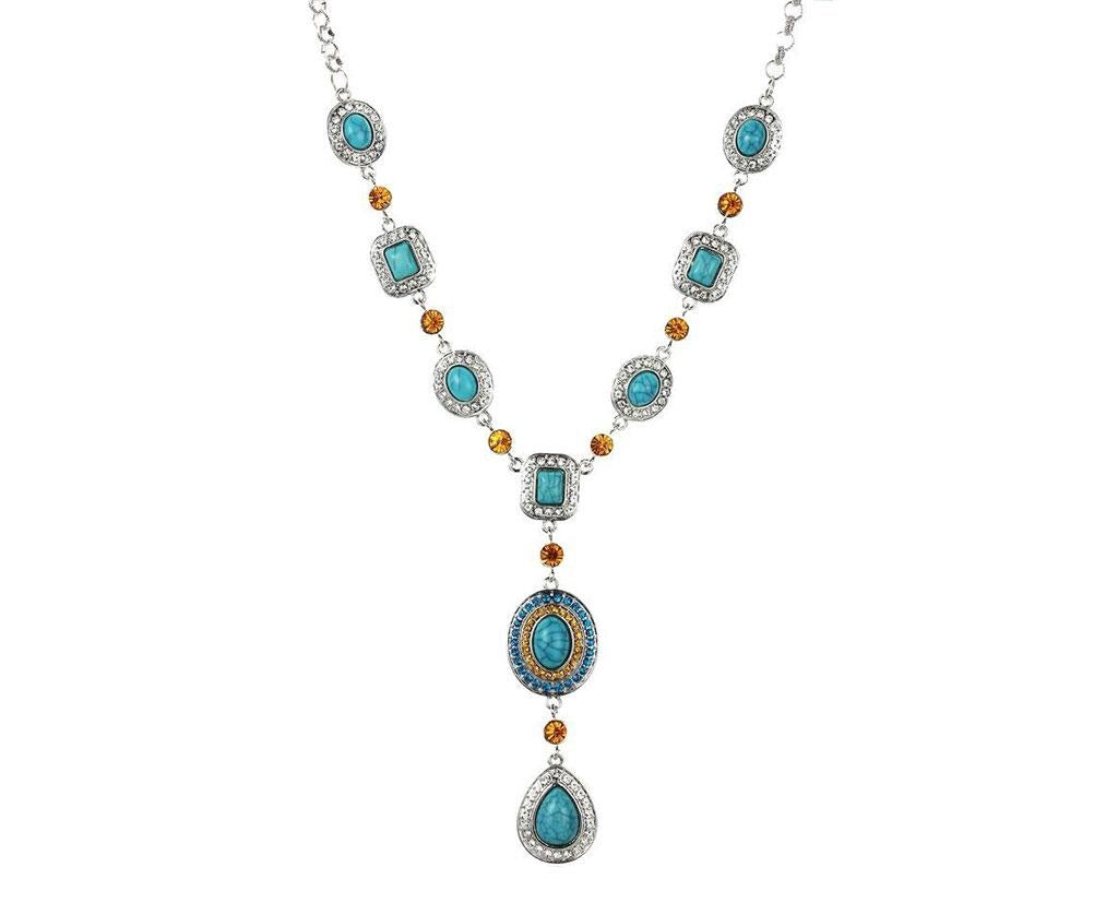 Turquoise and Citrine Tear Drop Necklace