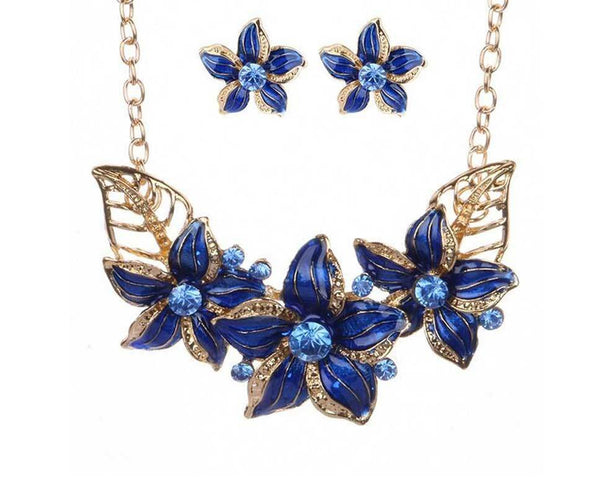 Indigo Pointsettia Luxor Leaves Necklace Set