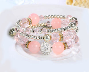 Smashing Pink Shade Multi layered Crystal Beaded Boho Bracelet