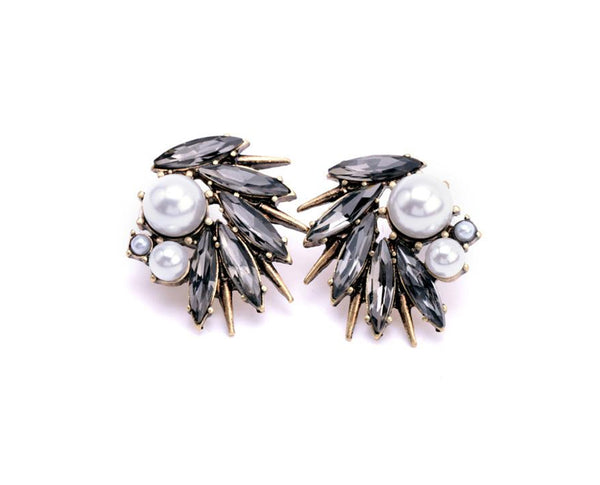Pearl And Rhinestone Stud Earrings