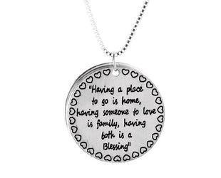 Family Blessing Engraved Necklace