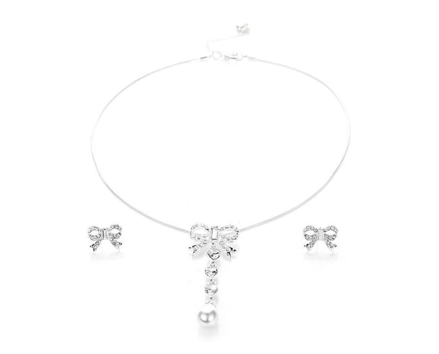 Frosted Bow Necklace Set