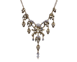 Pirate Skeleton Skull Rhinestone Punk Statement Necklace