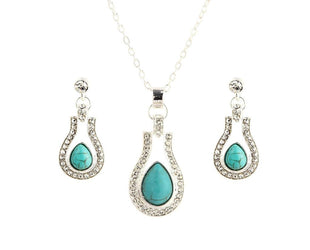 Rhinestone and Turquoise Teardrop Necklace Set