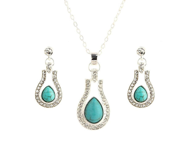 Water Drop Turquoise Necklace Set