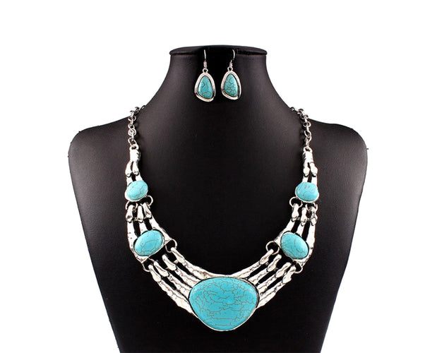 Turquoise and Silver Necklace Set