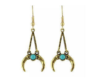 Crescent Moon And Turquoise Hanging Earrings