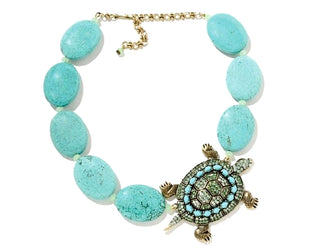 Rhinestone Turtle and Turquoise Necklace