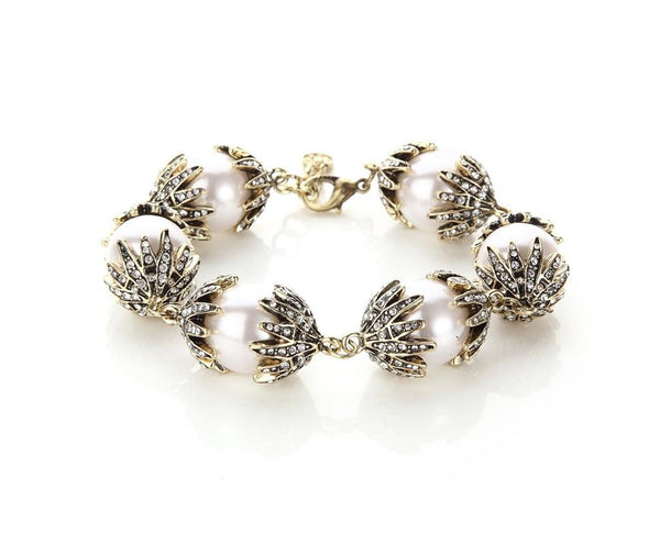 Pearl and Rhinestone Antique Bracelet