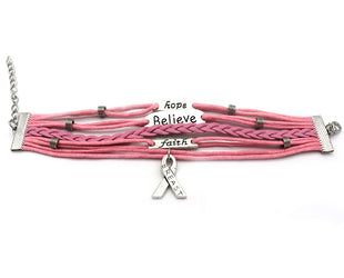 Expressive Breast Cancer Awareness Wrap Bracelet