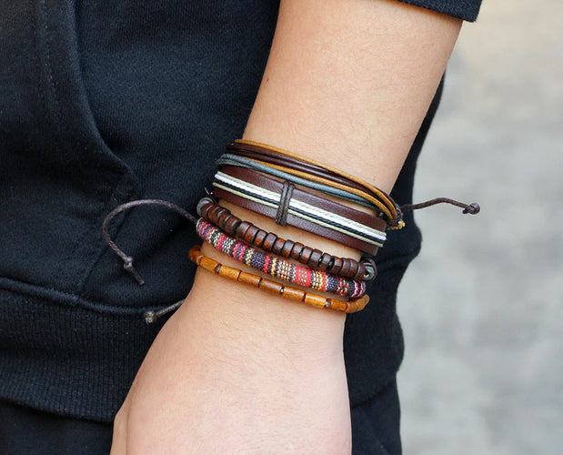 Leather and Bead Boho Bracelet
