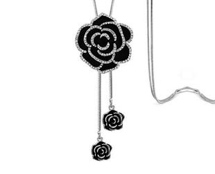 Dazzling Black Rose Long Chain Necklace