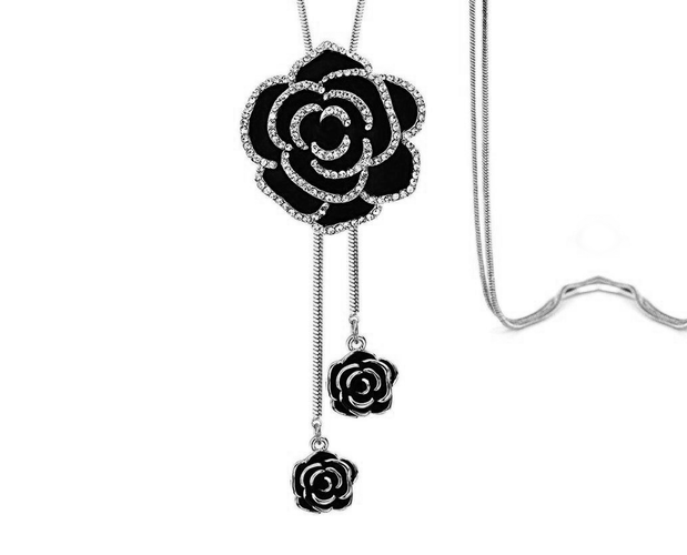 Dazzling Black Rose Petal Neck-piece with long chain