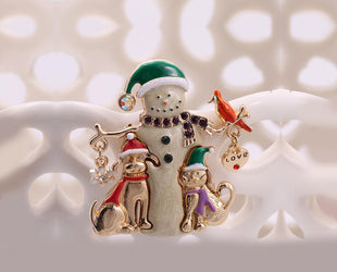 Snowman In Style Merry Christmas Brooch