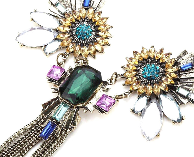 Peridot Windflower Tassel Statement Necklace