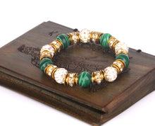 Glorious Malachite and Rhinestone Bracelet Sale
