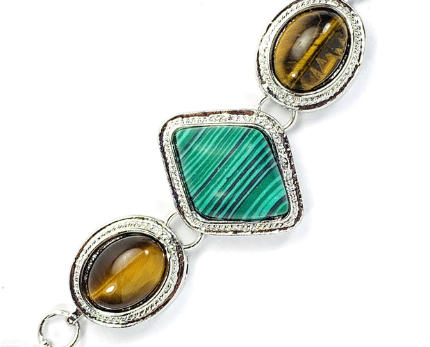 Tiger Eye and Malachite Silver Link Bracelet