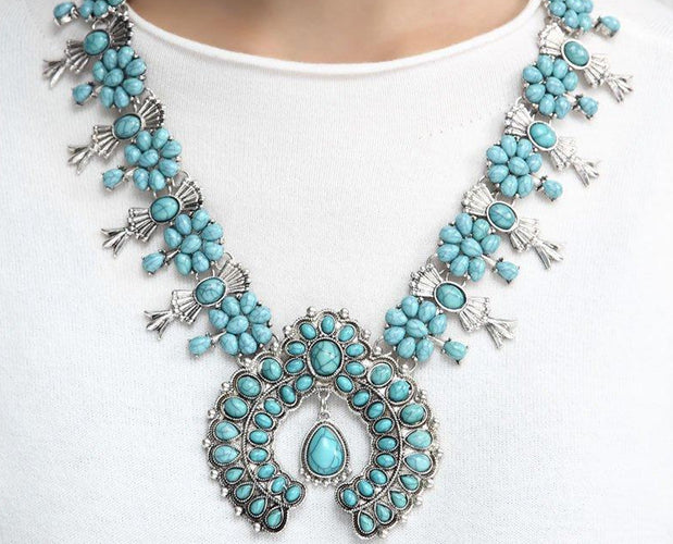 Turquoise Blue Elegant Multilayered Long Beaded Necklace