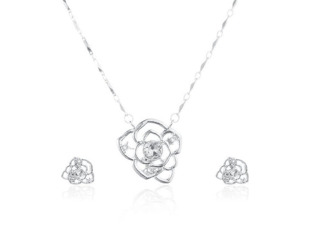 Rose Flower Necklace Set