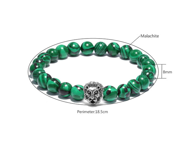 Roaring Lion Malachite Beaded Bracelet Sales