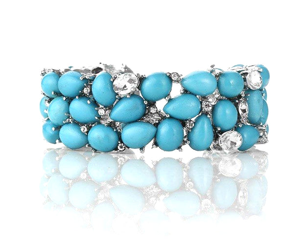 Turquoise and Rhinestone Encrusted Cuff Sales