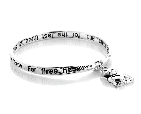 Cats Life Engraved Poem Bracelet