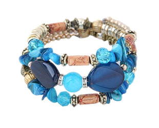 Aquatic Blue Carved Barrels Beaded Layered Bead Bracelet